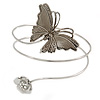 Vintage Inspired Hammered Butterfly & Flower Upper Arm, Armlet Bracelet In Silver Tone - 27cm Length