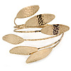 Vintage Inspired Hammered 'Leaves' Upper Arm, Armlet Bracelet In Antique Gold Tone - Adjustable