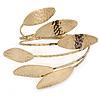Vintage Inspired Hammered 'Leaves' Upper Arm, Armlet Bracelet In Antique Gold Tone - Adjustable