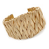 Wide Woven Wire Cuff Bangle In Gold Plated Metal - Adjustable