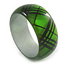 Green/ Black Acrylic 'Tartan Pattern' Bangle Bracelet -18cm Length