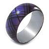 Purple/ Black Acrylic 'Tartan Pattern' Bangle Bracelet -18cm Length