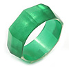 Apple Green Multifaceted Acrylic Bangle Bracelet - (Medium) - up to 19cm L