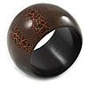 Wide Chunky Cracked Effect Wood Bracelet Bangle (Orange/ Brown) - Medium - 20cm L