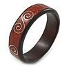Dark Brown/ Maroon Wood with Silver Metal Inlay Bangle Bracelet - 20cm L/ Large