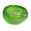 Chunky Green with Hammered Effect Acrylic Bangle Bracelet - 18cm L