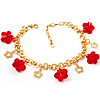 Red Flower Charm Gold Link Fashion Bracelet