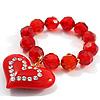 Red Plastic Jumbo Heart Stretch Costume Bracelet