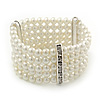 5-Strand Imitation Pearl Crystal Flex Bracelet (Snow White)