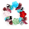 Multi-Coloured Beaded Glass Floral Flex Bracelet