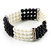 3 Strand Black And White Imitation Pearl Flex Bracelet