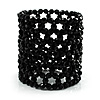 Black Wide Acrylic Bead Flex Bracelet