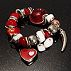Silver Tone, Heart Charm Glass Bead Flex Bracelet (Red&amp;White)