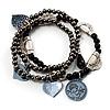3-Strand Vintage Black Glass Charm Flex Bracelet