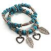 2-Strand Turquoise Bead Charm Flex Bracelet (Silver Tone)