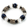 Dark Blue Ceramic Bead Flex Bracelet (Silver Tone)