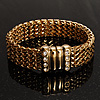 Gold Tone Crystal Mesh Magnetic Bracelet