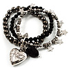 3-Strand Puffed Heart&amp;Star Charm Flex Bead Bracelet (Black&amp;Silver)