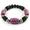 Lavender&Olive Green Ceramic Bead Flex Bracelet (Silver Tone)