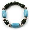 Pale Blue&Olive Green Ceramic Bead Flex Bracelet (Silver Tone)