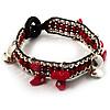 Bright Red Semiprecious Stone Charm Wristband Bracelet (Silver Tone)