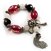 Black And Red Glass Bead Tassel Flex Bracelet (Silver Tone)