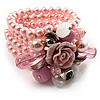 Chic Pale Pink Multistrand Glass Pearl Floral Flex Bracelet
