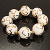 Italian Glass Heart Bead Flex Bracelet (Milk White &amp; Gold)