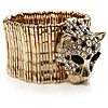 Gold Plated Leopard Head Crystal Flex Bangle Bracelet