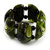 Wide Olive Green Resin Flex Bracelet
