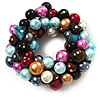 Chunky Multicoloured Glass Pearl & Shell Flex Bracelet - 17cm Length