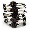 Silver-Tone Glass Bead Coil Bracelet (Black)