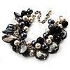 Black & White Simulated Pearl Bead & Shell Charm Bracelet (Silver Tone)