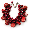Burgundy Red Simulated Pearl Bead & Shell Charm Bracelet (Silver Tone)