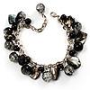 Black Glass And Shell Bead Charm Bracelet (Silver Tone)