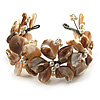 Antique White Floral Shell & Simulated Pearl Cuff Bracelet (Silver Tone)
