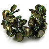 Olive Green Floral Shell & Simulated Pearl Cuff Bracelet
