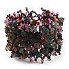 Wide Pink/Teal/Beige Semiprecious & Glass Bead Braided Bracelet -17cm Length