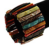 Wide Multicoloured Shell Stretch Bracelet (Stripes)