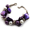 Faux Pearl &amp; Shell - Composite Silver Tone Link Bracelet ( Purple, Violet &amp; White)
