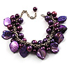Deep Purple Simulated Pearl Bead & Shell Charm Bracelet (Silver Tone)