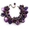 Deep Purple Simulated Pearl Bead & Shell Charm Bracelet (Silver Tone)