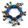 Blue Vintage Charm Flex Bracelet (Burnished Silver Tone)