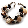 Faux Pearl &amp; Shell - Composite Silver Tone Link Bracelet ( Antique White &amp; Black)