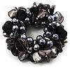 Chunky Black Shell And Bead Flex Bracelet