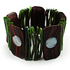 Wide Wood & Shell Stretch Bracelet (Brown & Green)