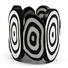Black & White Resin Oval Stretch Bracelet