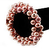 Chunky Baby Pink Simulated Glass Pearl & Shell Flex Bracelet