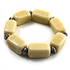 Vintage Antique White Ceramic Nugget Flex Bracelet (Antique Silver Tone)