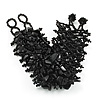 Wide Black Semiprecious & Glass Bead Braided Bracelet -17cm Length